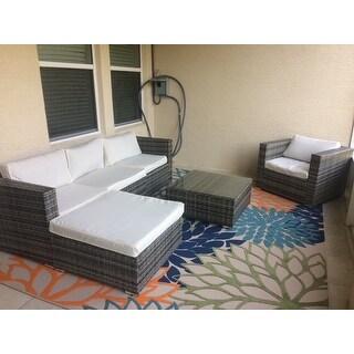 Costway 6pc Furniture Set Patio Sofa Pe Gray Rattan Couch