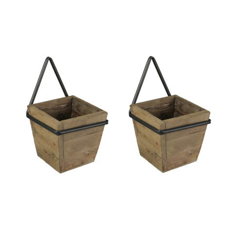 Set of 2 Wooden Wall Planters With Wrought Iron Frame Holders - 9.5 X 5.75 X 6 inches