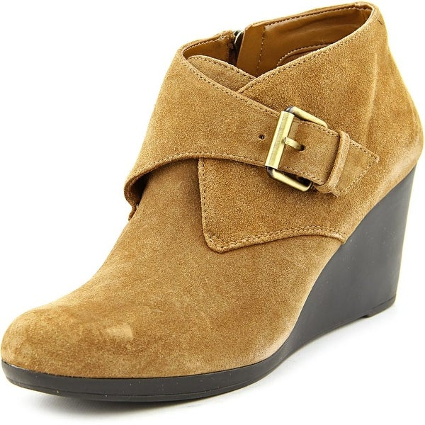 Isaac Mizrahi Volley Women Round Toe Suede Tan Bootie