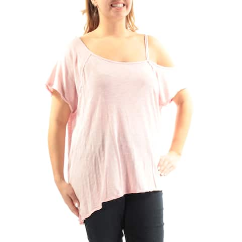 WE THE FREE Womens Pink Cut Out Short Sleeve Asymetrical Neckline Top Size: L