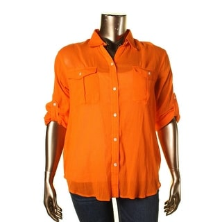 LRL Lauren Jeans Co. Womens Button-Down Top Crinkled Collared