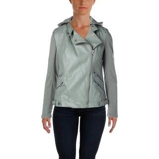 Aqua Womens Motorcycle Jacket Faux Leather Asymmetric