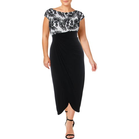Connected Apparel Womens Plus Evening Dress Draped Special Occasion