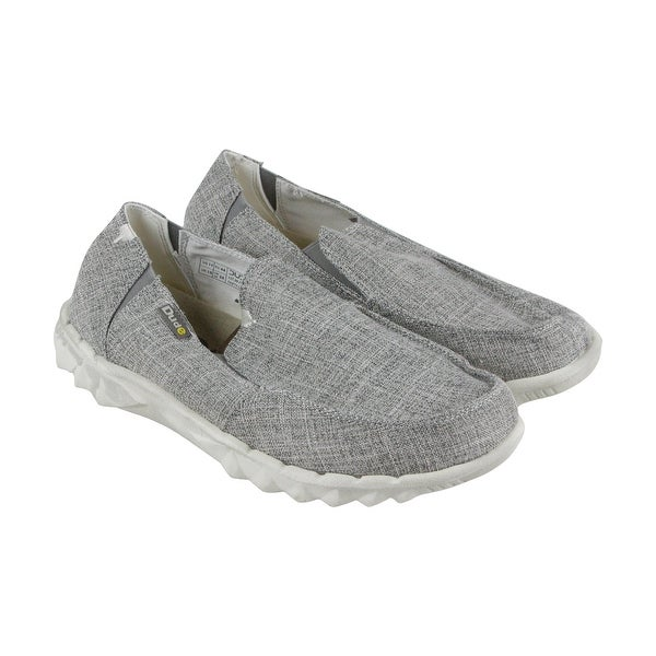 Hey Dude Farly Linen Mens Gray Textile Casual Dress Slip On Loafers Shoes