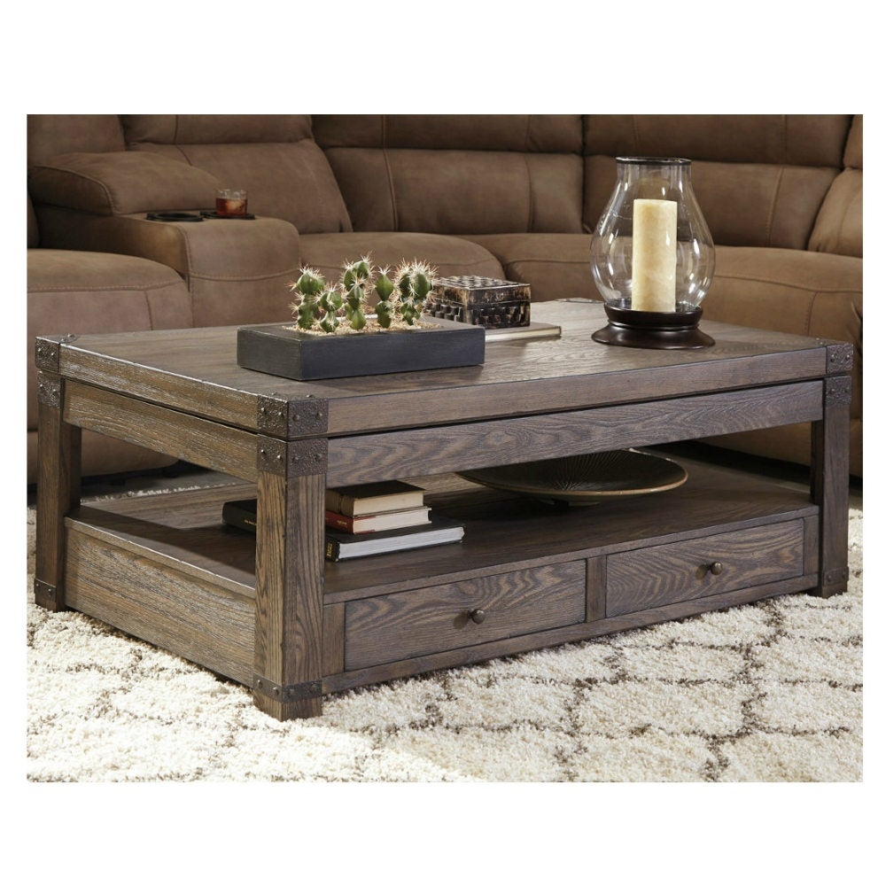 Ashley Furniture T846 9 Burladen Lift Top Coffee Table W Vintage Finish Metal Brackets Free Shipping Today 17490132
