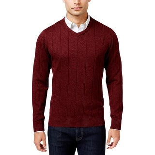 John Ashford Mens Pullover Sweater Ribbed Trim Long Sleeves