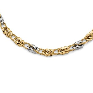Italian 14k Two-Tone Gold Polished and Textured Fancy Link Necklace - 17.5 inches