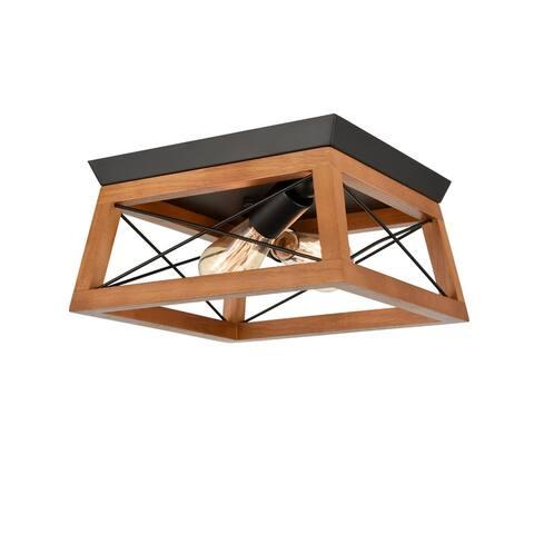 Vanesa Square Solid Wood & Black Metal Trim Flush Mount Ceiling Light
