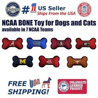 Link to Pets First NCAA Licensed Dog Bone Toy - Heavy Duty, Tough and Squeaky Dog Toy Similar Items in Cat Toys & Tunnels