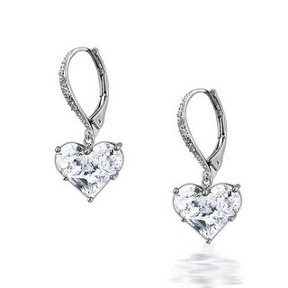Bling Jewelry Invisible Heart Leverback Dangle Earrings CZ 925 Sterling Silver