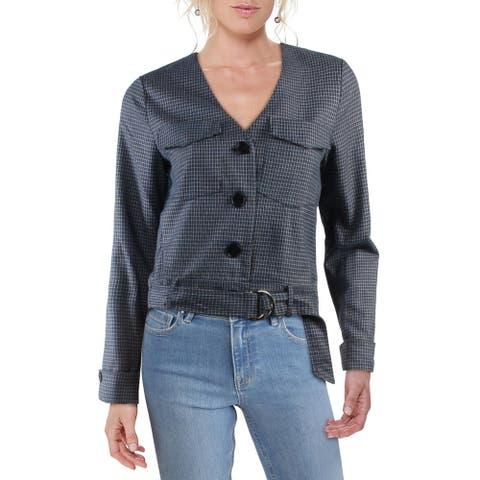 FRNCH Womens Blazer Plaid V-Neck - Blue