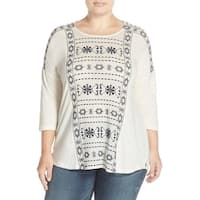 Lucky Brand Ivory Geo Embroidered Women 3X Plus Tunic Cotton Blouse