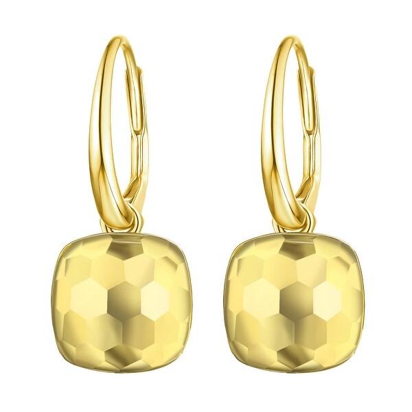 Vedantti Magic Honeycomb Cut Lemon Quartz Gemstone Pure Leverback Earring