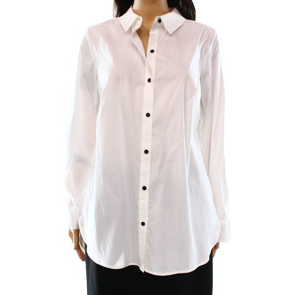 94bd8f8f Shop Alfani NEW Bright White Womens Size 14 Semi-Sheer Button Down Shirt -  Free Shipping On Orders Over $45 - Overstock - 17788357