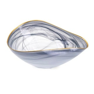 13.5 Gray and Golden Colored Distressed Finish Decorative Glass Bowl