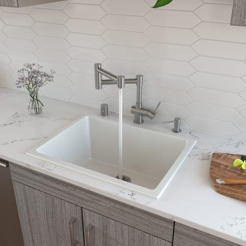 """ALFI brand AB2418UD 24"""" White Undermount / Drop in Fireclay Kitchen Sink"""