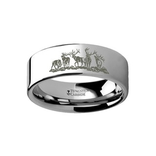 THORSTEN Animal Landscape Scene Five Deer Stag Hunting Ring Engraved Flat Tungsten Ring 10mm