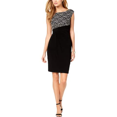 Connected Apparel Womens Sheath Dress Sequined Lace