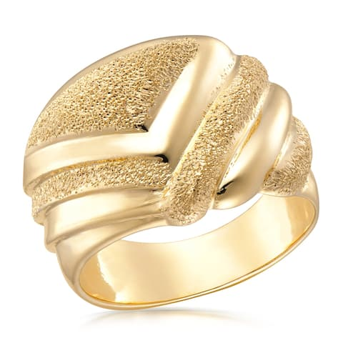 Forever Last 18 kt Gold Plated Women's Fancy Polished & Satin Finished Domed Ring