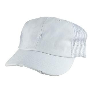 110 Series Vintage Mesh Curved Trucker Snapback Cap Hat - White