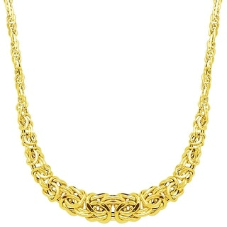 Just Gold Graduated Byzantine Links Necklace in 14K Gold - Yellow
