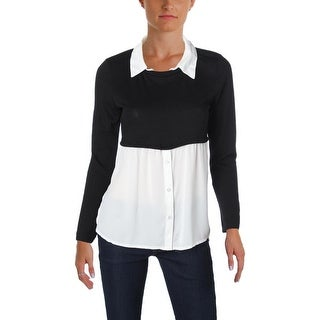 BCX Womens Juniors Sweater Layered Long Sleeve - M
