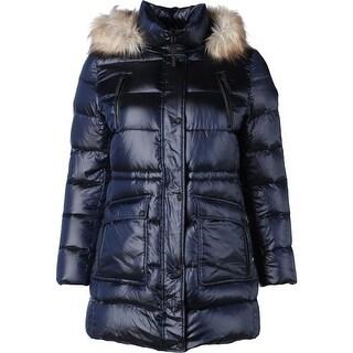 Calvin Klein Womens Puffer Coat Faux Fur Hood Long Sleeves - XL