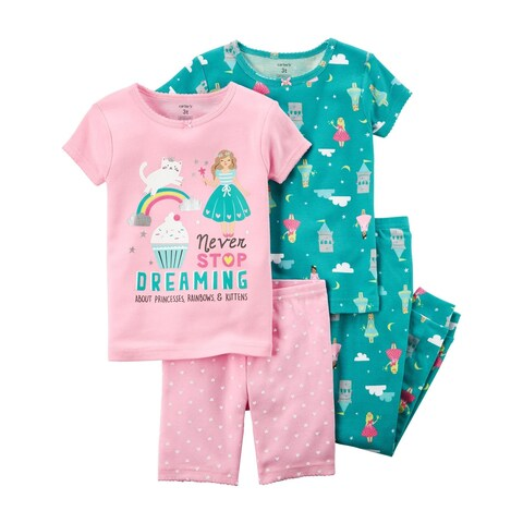 Carter's Baby Girls' 4-Piece Snug Fit Cotton PJs, 18 Months - multi