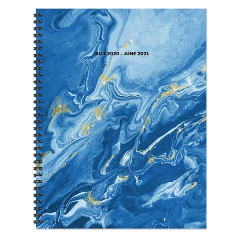 July 2020-June 2021 8.5x11 Large Daily Weekly Monthly Blue Marble Spiral Planner with Stickers