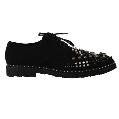 Dolce & Gabbana Black Shoes Crystal Studded Men's Derby