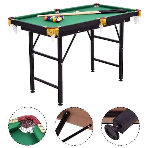 Costway 47'' Pool Table Billiard Table Toys Game Set w 2 Cue Triangle