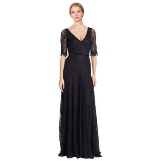 Theia Elegant Black Lace Elbow Sleeve Bead Embellished Evening Gown - 0