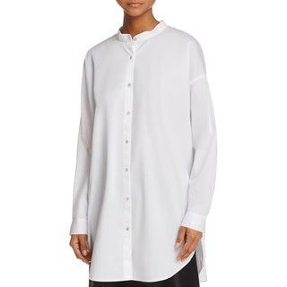 Eileen Fisher Womens Petites Blouse Button-Down Mandarin Collar - pp/ptp