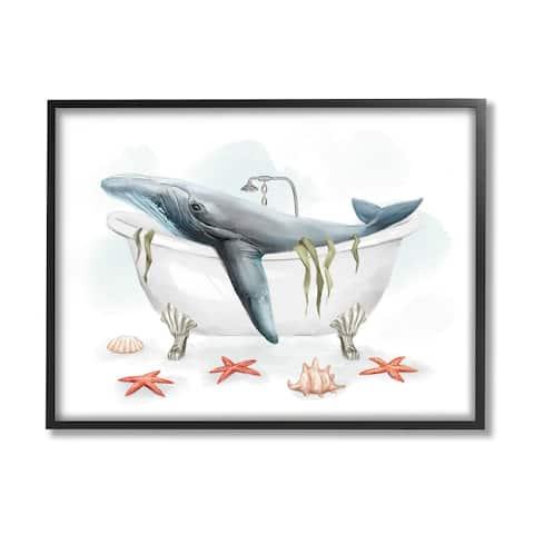Stupell Industries Whale in Nautical Tub Seafoam Starfish Shells Framed Wall Art