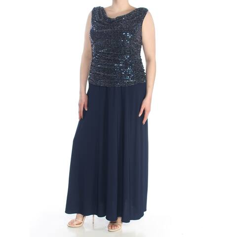 R&M RICHARDS Womens Navy Sequined A-Line Formal Dress Plus Size: 16W