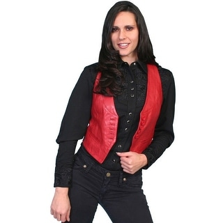 Scully Western Vest Womens Fully Lined Lambskin Button Front L986