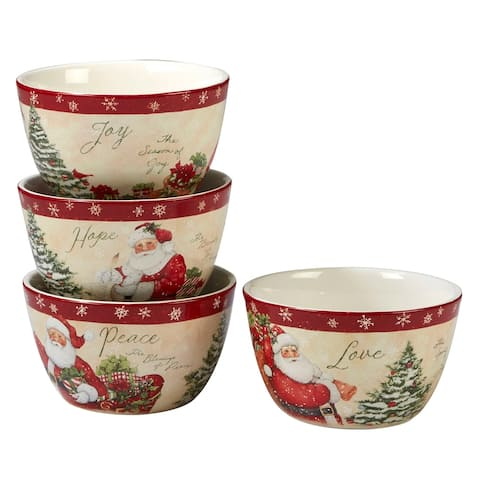 4pc White and Red Holiday Wishes Thanksgiving Ice Cream Bowl Set 5.5