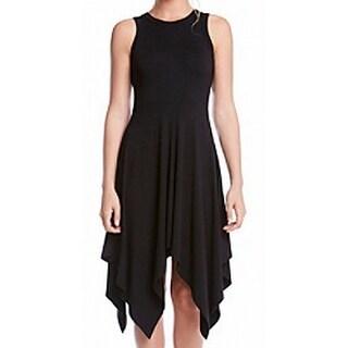 Karen Kane NEW Black Womens Size Small S Solid Asymmetrical Hem Dress