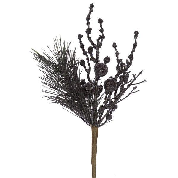 "13"" Sparkling Black Glittered Ball and Pine Christmas Spray"