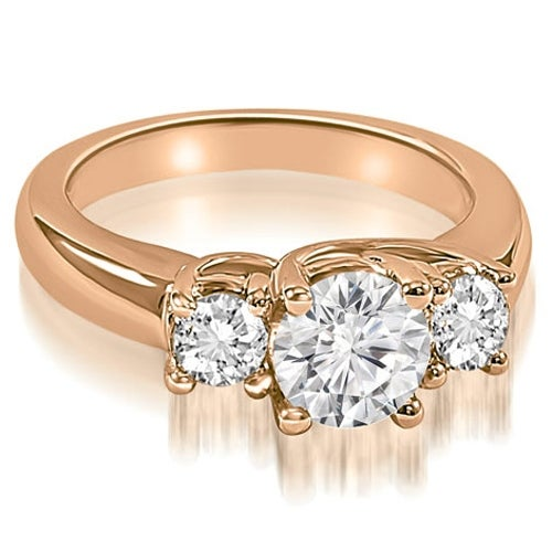 3.40 cttw. 14K Rose Gold Lucida Three-Stone Round Cut Diamond Engagement Ring