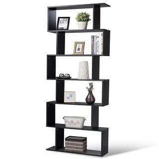 6-Tier S-Shaped Bookcase Z-Shelf Style Storage Bookshelf - Black