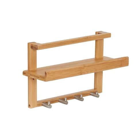Bamboo Wall Slat Shelf with 4 Hooks