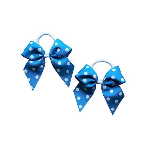 Promarx Girls Blue Contrast Polka Dot Pattern Bow Stylish Ponytail Holder - One Size