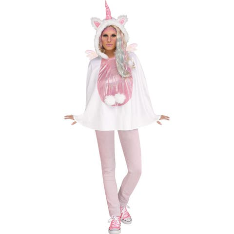Adult Unicorn Hooded Poncho Costume size 4-14 - Standard - One Size