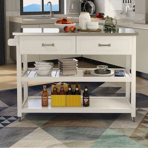Stainless Steel Table Top White Kicthen Cart With Two Drawers