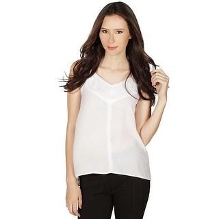 Dex Sleeveless V-Neck Top in White/Light Grey