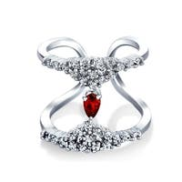 Bling Jewelry Red Round CZ Rhodium Plated Double Band CZ Ring