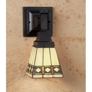"Meyda Tiffany 48191 Diamond Mission 7"" Wide Single Light Wall Sconce with Stained Glass Shade"