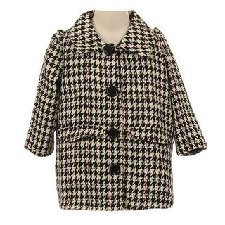 Kids Dream Girls Black White Snap Buttons Houndstooth Jacket Coat 8-12
