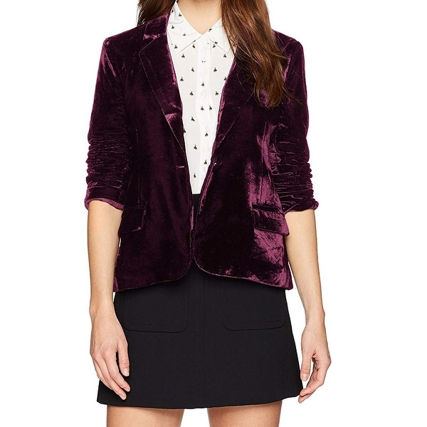 Cupcakes & Cashmere Purple Womens Size 4 Velvet One Button Jacket